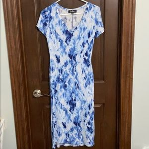 Lulus Blue Tie Dye Midi T Shirt Dress